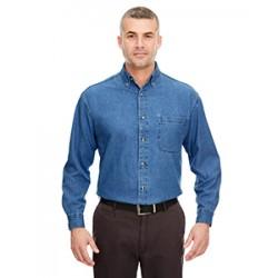 UltraClub Men's Cypress Long Sleeve Denim Shirt
